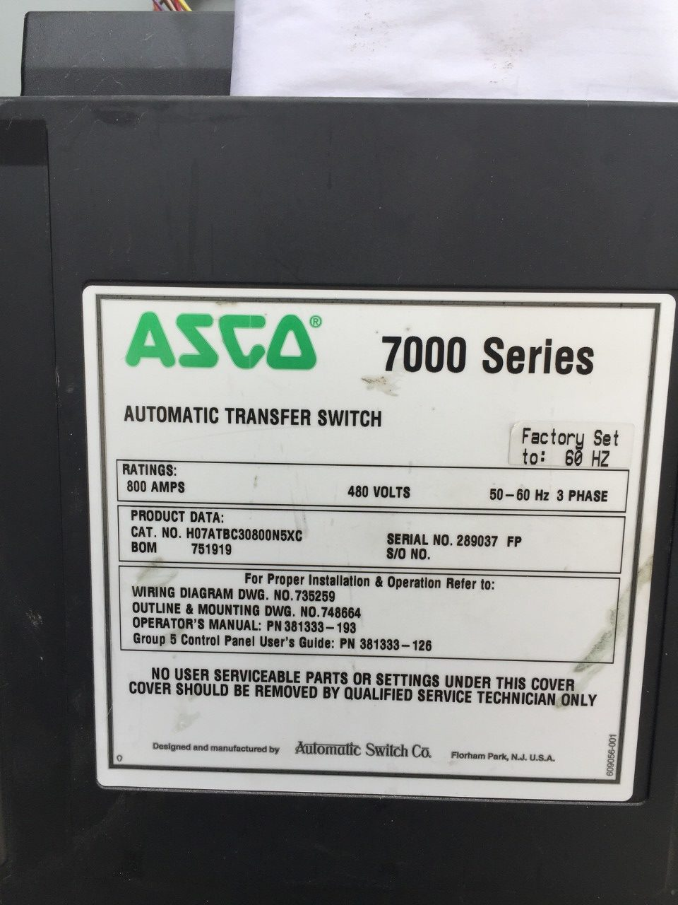 ASCO Series Automatic Transfer Switch - Asco 7000 series automatic transfer switch wiring diagram