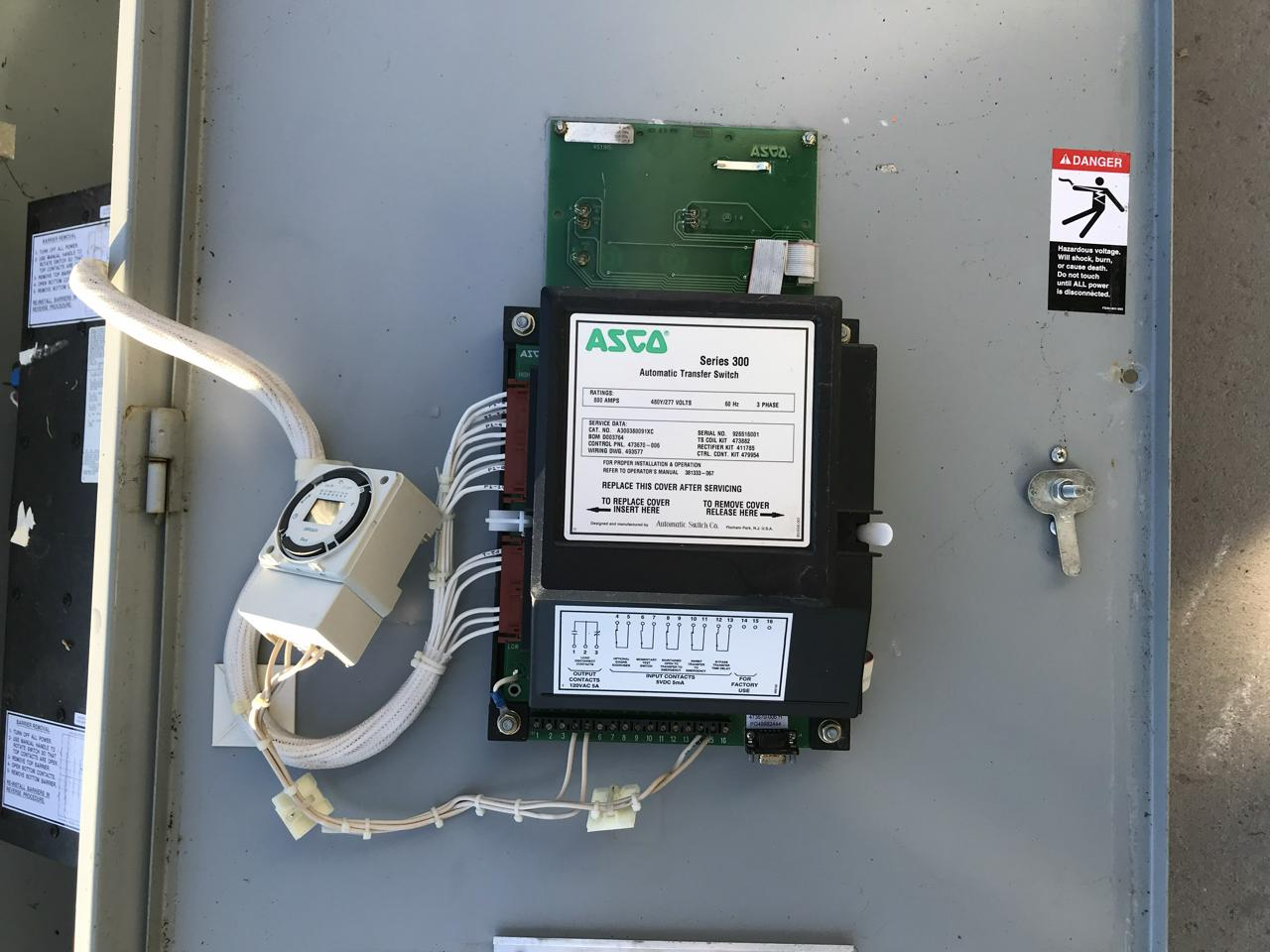 800 Amp Asco Transfer Switch  Nema 1  277 Volts  3 Phase