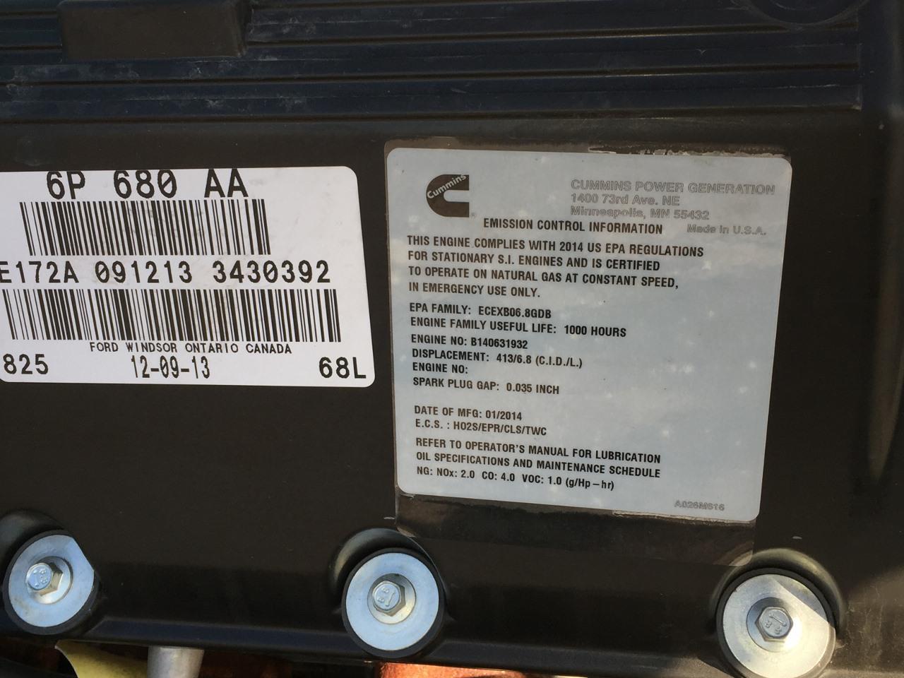 _125 kW Cummins/Onan Generator, NEW w/ Warranty from Man , 6 8L V-10 Ford  Engine