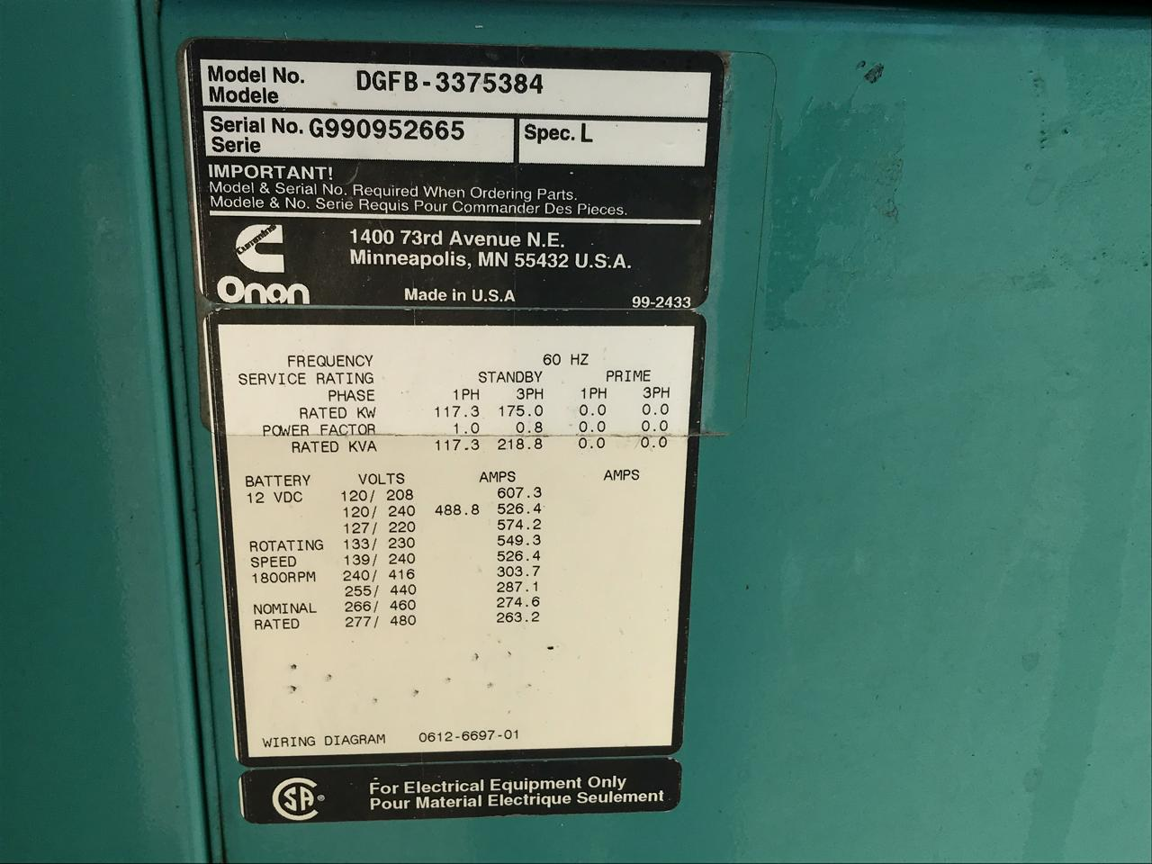 175 Kw Cummins Onan Generator 12 Lead Reconnectable 277 480 Volts 10 Wiring Diagrams
