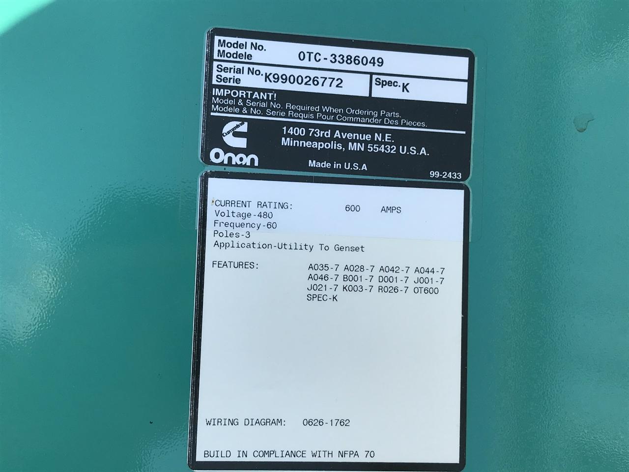 600 Amp Cummins Onan Transfer Switch 3 Pole Phase Wiring Diagram