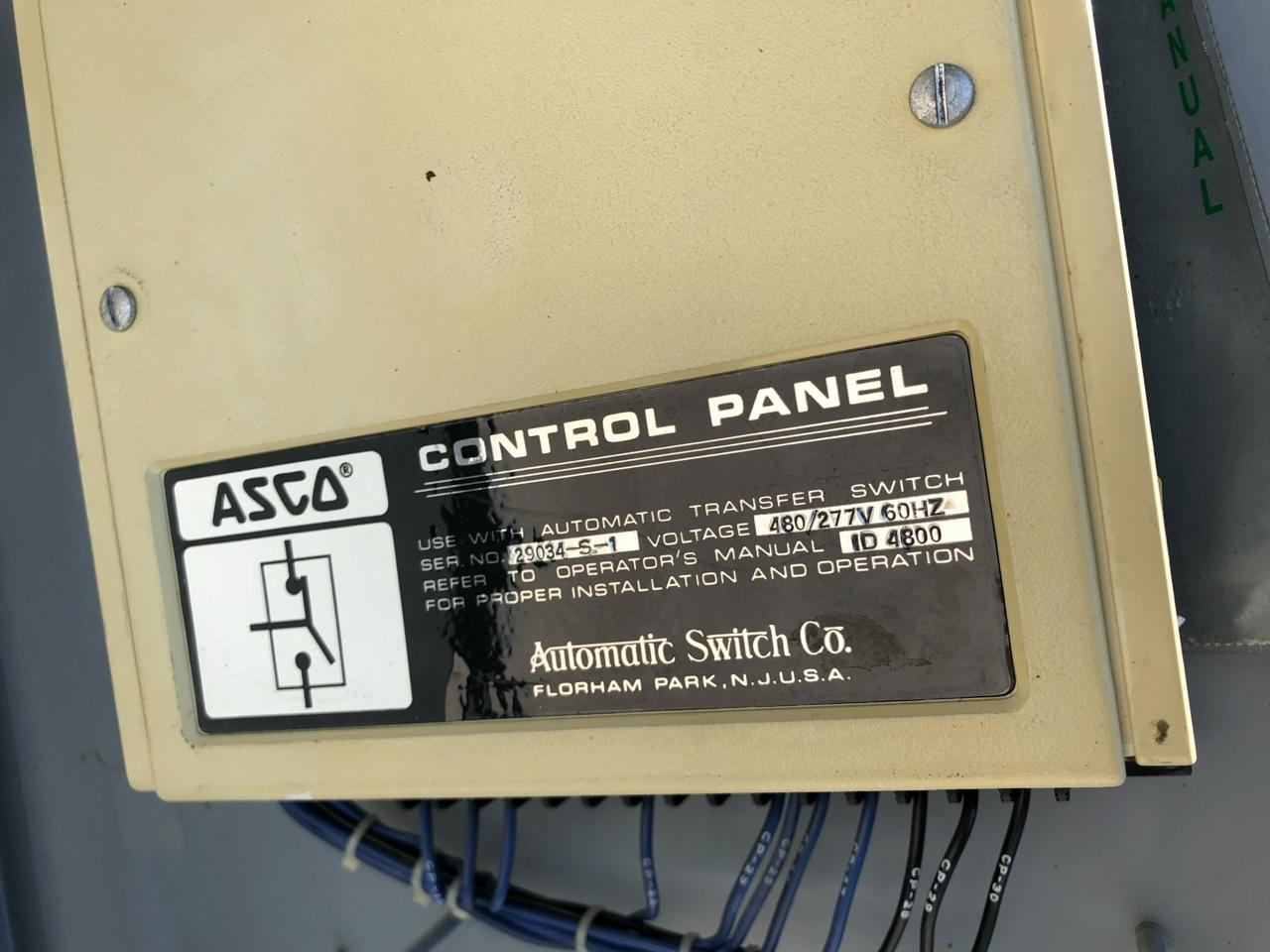 800 Amps Asco Transfer Switch 480 Volts 3 Pole Phase Automatic On Wiring