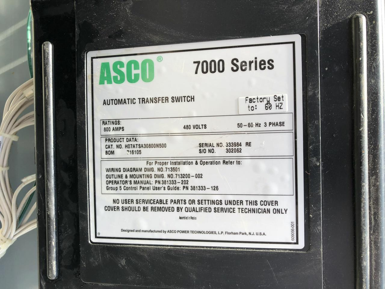 800 Amp Asco 7000 Series Transfer Switch 3 Phase Wiring Diagram