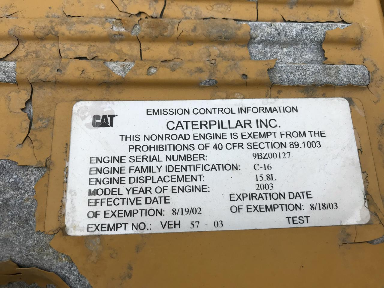 caterpillar engine model year serial number