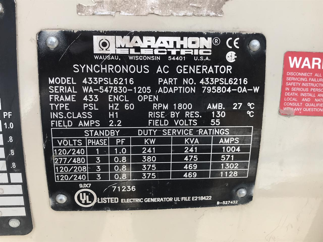 Marathon Electric 380 Kw Generator End 12 Wire Sae 1 14 Electronics