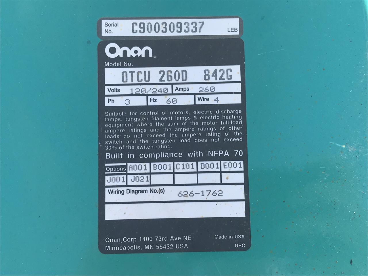 260 Amps Onan Transfer Switch 1 3 Phase 4 Wire Diagram