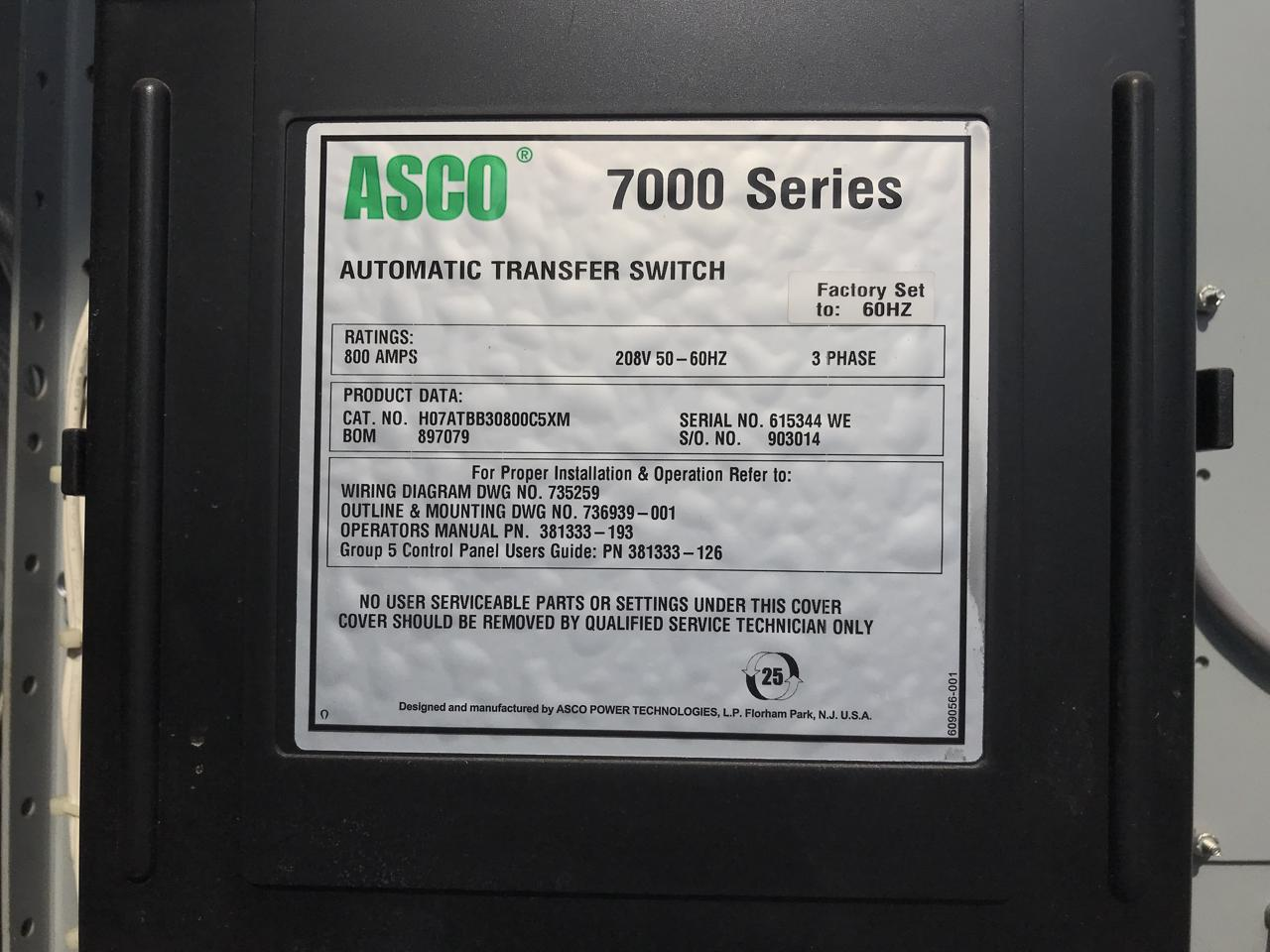 1600 Amp Service Entrance Diagram Detailed Schematics Electrical Wiring 800 Asco Nema 3 Transfer Switch Rated
