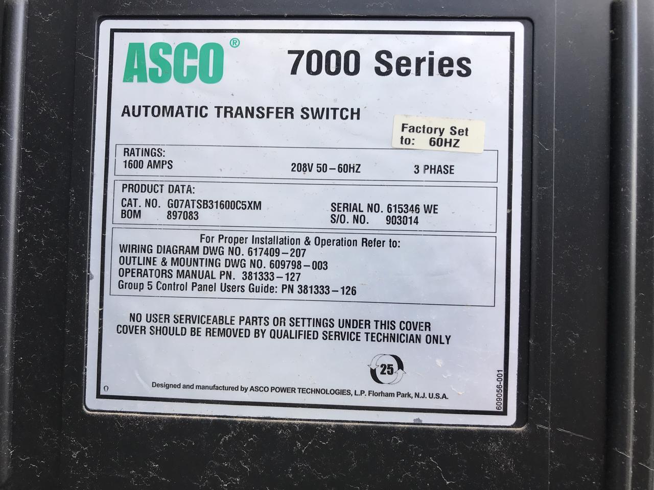 2007 7000 Series Asco 1600 Amp 208 Volt Transfer Switch Nema 3 W Automatic Wiring Diagram Iets 167 As 8