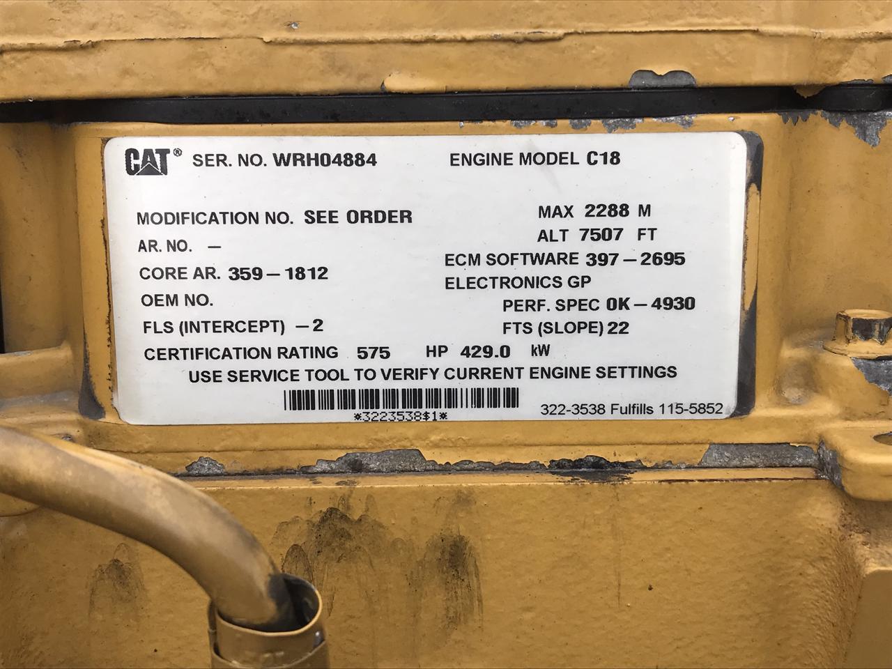 C18 Cat Engine, 575 HP, Year 2013, SAE 1, 14