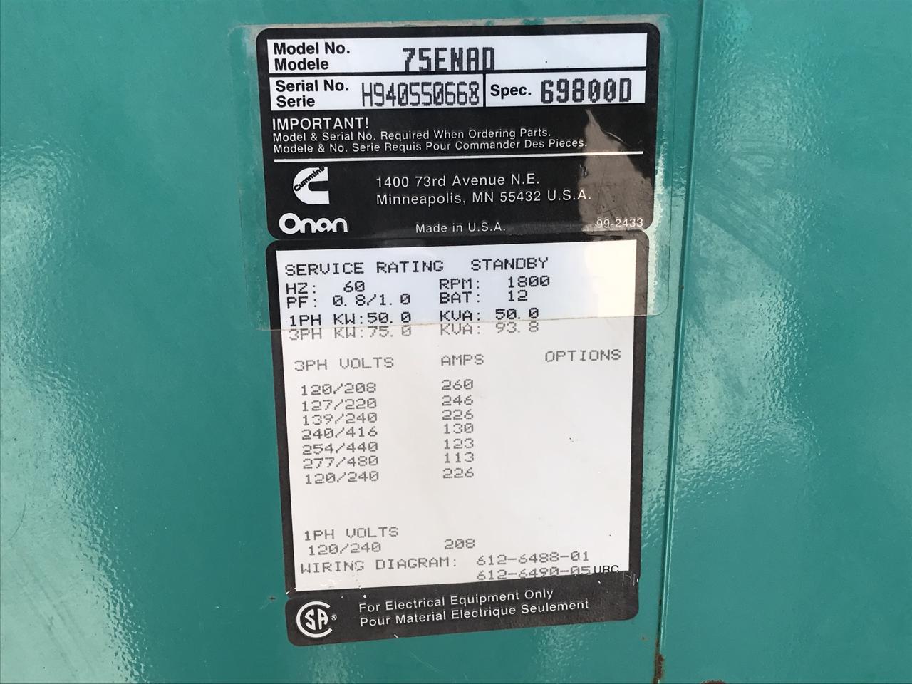 75 Kw Cummins Onan Generator Set 12 Lead Year 1994 Weather Proof 277 480 Volts